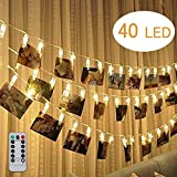 Ewolee LED Photo String Lights, 16FT 40 Photo Clips with Remote Timer Function Fairy Lights, Wedding Party Christmas Halloween Home Decor Light for Hanging Pictures Memos Notes Artwork (Warm White)