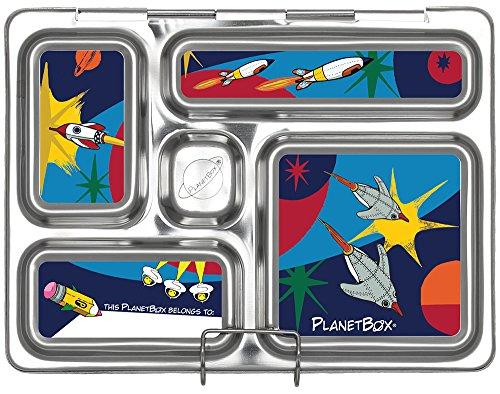 PlanetBox ROVER Eco-Friendly Stainless Steel Bento Lunch Box with 5 Compartments for Adults and Kids (Rockets Carry Bag with Rockets Magnets) by PlanetBox (Image #2)