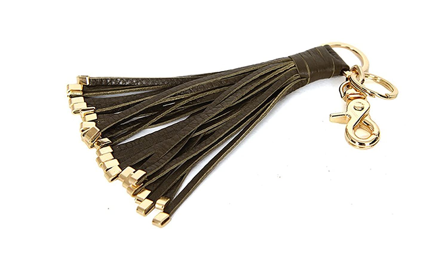J&S Women's Handbag Accessories Leather Tassel Charm Key Chain Ring 7 Colors