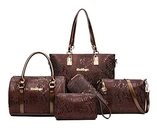 - Yan Show Women's Shoulder Bags Totes Patent Leather Handbags With Matching Wallet Purse 5 Pieces Set /Brown