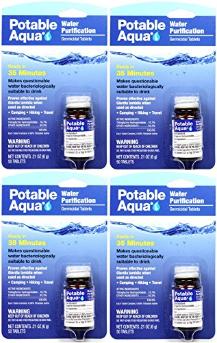 Potable Aqua Water Purification Iodine Tablets 4 Bottles with 50 Each (Four-Compact)