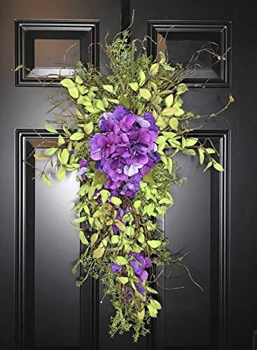 Hydrangea Vertical Floral Teardrop Swag