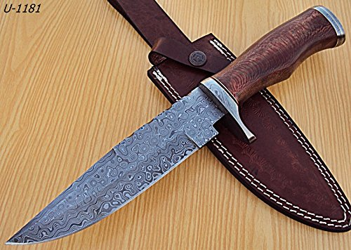 REG-U-1181- Custom Handmade Damascus Steel 12.2 Inches Hunting Knife. Colors Case may vary