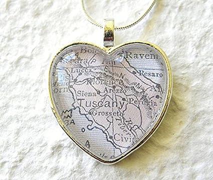 Tuscany mapa collar – Toscana, Italia con Siena, Arezzo, Florencia, Lucca,