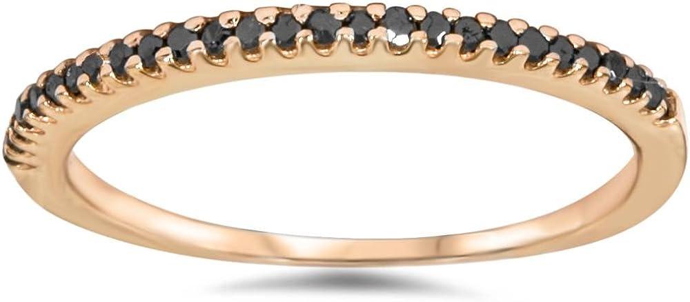 1/10ct Black Diamond Stackable Ring 14K Rose Gold