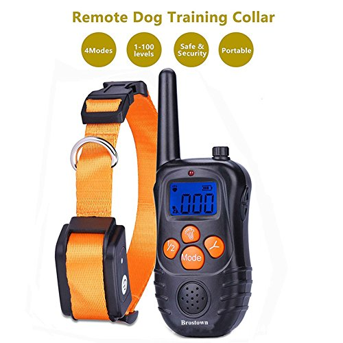 [UPGRADED 2017] Anti Bark Collar - Brostown Rechargeable Waterpoof Blue Screen Shock & Electric 1000ft Remote Pet Dog No Bark Training Collar