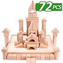 iPlay, iLearn Kids Building Block Set, 72 PCS Wood Blocks, Natural Wooden Stacking Cubes, Structure Tile Game, Educational and Activity Toy for Age 3, 4, 5 Year Olds Up Children, Toddlers, Boys, Girls