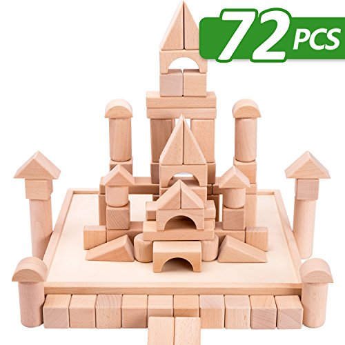 Natural Wood Series Natural - iPlay, iLearn Kids Wooden Building Block Set, 72 PCS Wood Castle Blocks Kit, Natural Wooden Stacking Cubes, Educational Montessori Toy for Age 3, 4, 5 Year Olds Up, Children, Preschoolers, Boys, Girls