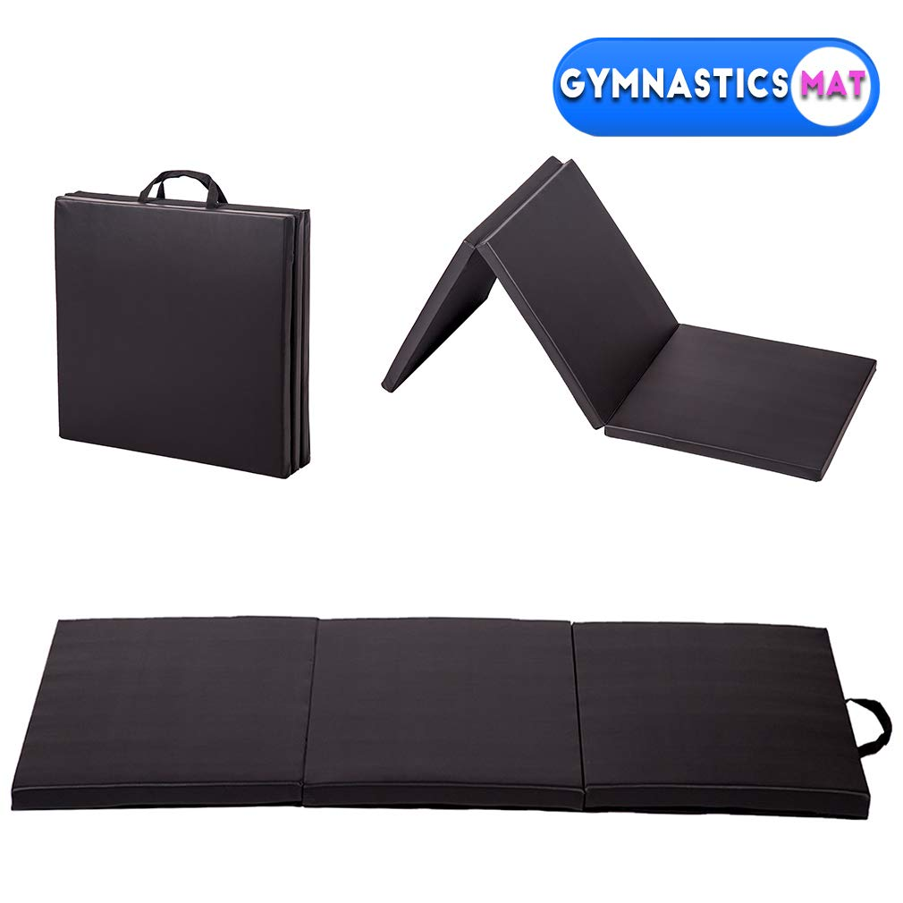 BestMassage Gymnastics Mats 6x2x2 Exercise Mat Tumbling Mats for Gymnastics 6 FT Gymnastics Mats for Home Exercise Pad Gym Mat Yoga Mat 3 Folding Lightweight Home Gymnastics Panel Mat for Home