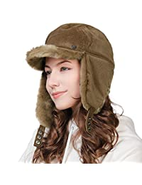 Fur Earflap Corduroy Baseball Cap Women Elmer Fudd Trapper Hats Winter 55-60CM