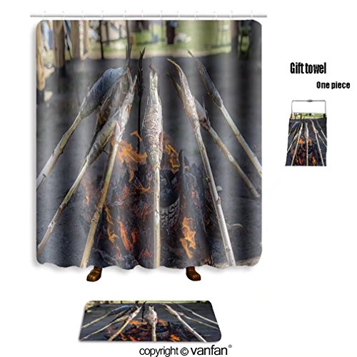 vanfan bath sets with Polyester rugs and shower curtain fresh baikal fish roasted on the coals the fo shower curtains sets bathroom 72 x 108 inches&31.5 x 19.7 inches(Free 1 towel and 12 hooks)