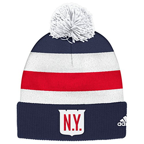 New York Rangers 2018 Winter Classic Cuffed Pom Knit Players Adidas Hat