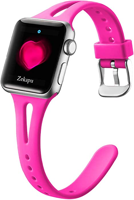 LEOMARON Slim Band Compatible with Apple Watch 38mm 40mm for Women, Breathable Soft Silicone Thin Wristband for iWatch Series 6/SE 5 4 3 2 1, S/M Hot Pink