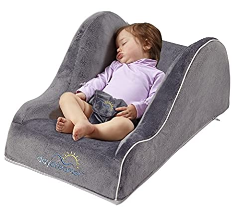 hiccapop Day Dreamer Sleeper Baby Lounger Seat for Infants - Travel Bed - Bassinet Alternative, Charcoal (Twin Sleepers)