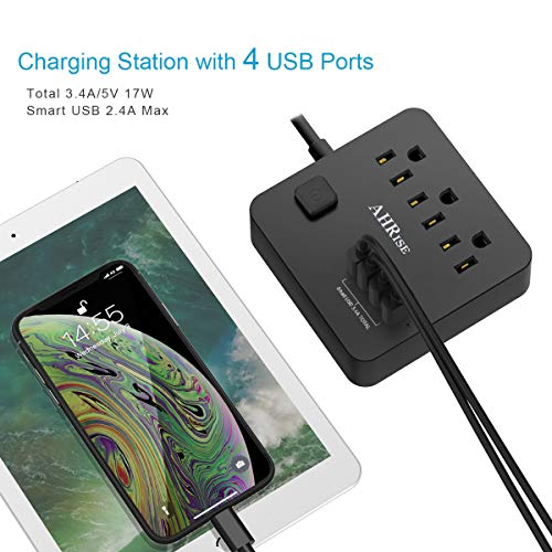 AHRISE Extension Cord, Power Strip with 3 AC Outlets and 4 USB Ports for Smartphone Tablets Home, Office, Hotel, Cruise Ship, 5 Ft, ETL Listed, Black…