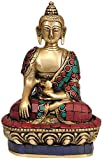 Lord Buddha in the Bhumisparsha Mudra - Brass Statue with Inlay