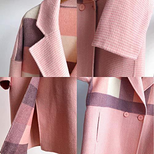 s Lana Da Cappotto Scozzese Motivo Gaoqq Donna Mano Khaki Faccia Cashmere Invernale In Con s A pink Doppia Realizzato HgUqcnAwc