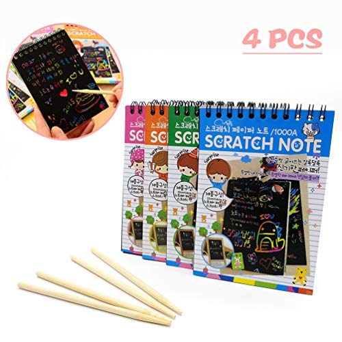 C-pop 4 Pack Scratch Art Note Pads, Sketch Doodle Art Rainbow Mini Notes With 4 Wooden Stylus for Kids,12 Pages