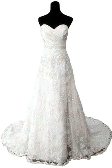 Sunvary Ivory Sweetheart Lace Bridal Dresses Wedding Gowns Long with Train - US Size 2-