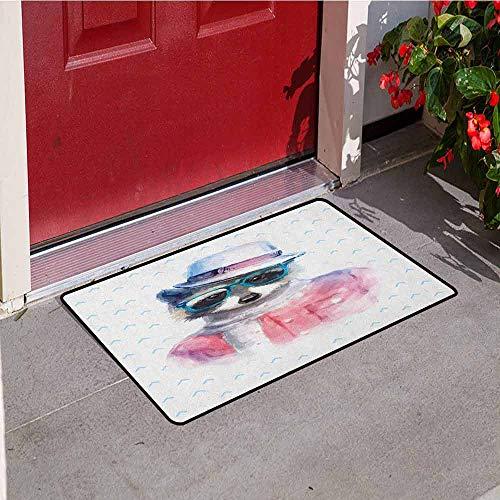 GloriaJohnson Funny Universal Door mat Retro Hipster Funky Raccoon with Sunglasses Hat Pullover Portrait Animal Humor Theme Door mat Floor Decoration W19.7 x L31.5 Inch Pink Blue ()