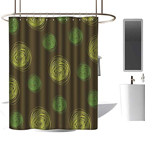Mannwarehouse Funny Polyester Shower Curtain Round Doodles Spots in Green Tones Spirals Swirled Big Funky Dots Pattern Modern Shower Curtain W79 ()