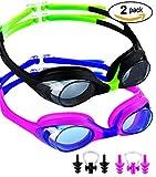 SBORTI 2 Pack Kids Swimming Goggles,No Leaking,Anti Fog,UV Protection Swim Glasses Water Goggles