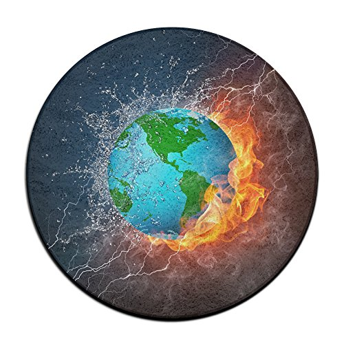 Globe Illustration Round Carpet Area Floor Rug Entrance Entry Way Front Door Mat Ground 23.6 Inch Rugs For Decor Decorative Men Women Office by Homedecor