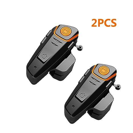 confezione da 1 Qaurora bt-s2 1000 m auricolare Bluetooth impermeabile BT casco da moto Interphone auricolare per 2 o 3 piloti e audio da 2.5 mm per walkie talkie GPS mani libere MP3 player FM radio