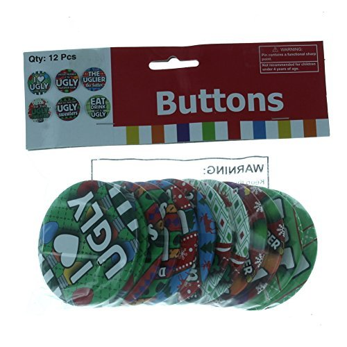Ugly Sweater Buttons Lot of 12 Christmas Holiday Party Favors