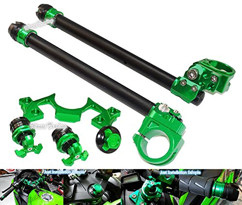 waase motorcycle Adjustable Handlebars Clip On Bar Ends Fork Adjusters Yoke Nut Guard Pad Set For Kawasaki Ninja 250 300 2013 2014 2015 2016 (Green)