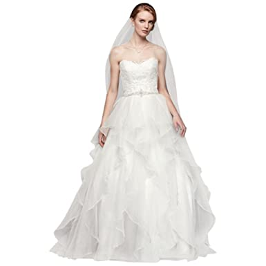 David\'s Bridal Lace and Organza Wedding Ball Gown with Beading ...