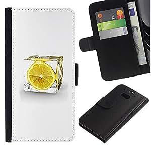 LECELL--Cuero de la tarjeta la carpeta del tirón Smartphone Slots Protección Holder For HTC One M8 -- LEMON ICE CUBE --
