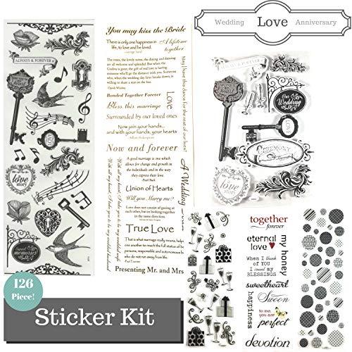 126 Piece! Wedding, Anniversary & Love Theme Scrapbook Sticker Kit - Value Pack!