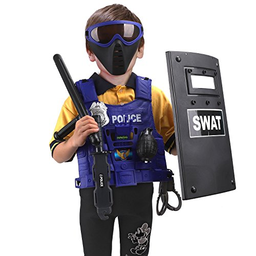 Police Officer Costume Kit Role Play Cop Toy Walkie Talkie Baton /& Cuffs