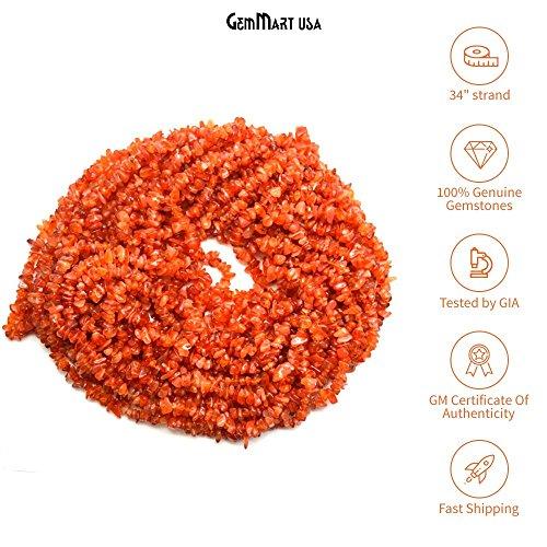 GemmartUSA Natural Orange Carnelian Beads Chips Freefoam Accessories Rough Gravel Semi Precious Bulk Wholesale Gemstone for Jewelry Making 1 Piece 34' Strand (CHCN-70001) ()