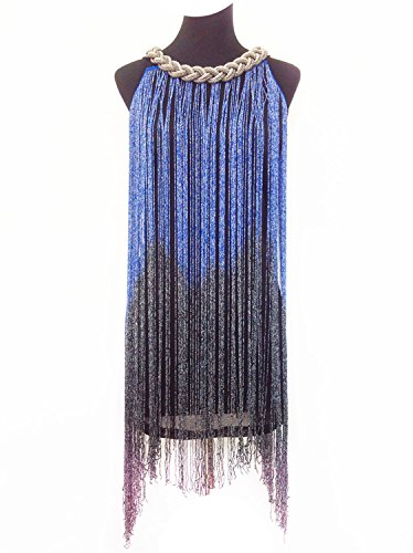 Vijiv Swinging Long 1920s Dress Blue Cocktail Gatsby Flapper Women's Tassel Fringe rIHrf