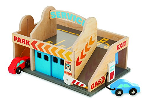Melissa & Doug Service Station Parking Garage With Two Wooden Cars And Drive-Thru Car Wash