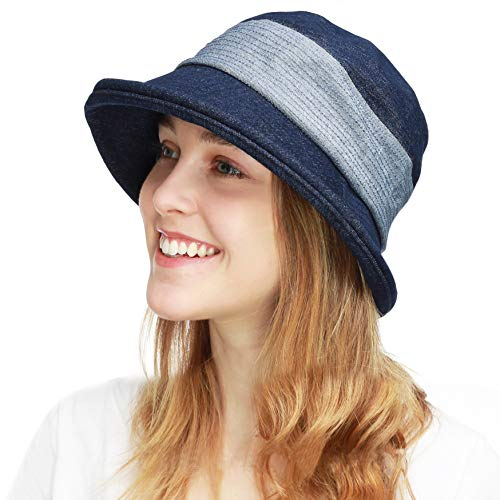 BLACK HORN Ladies Packable Women's Wide Brim Sun Bucket Hat (Collete- Denim Blue) (Blue Denim Bucket Hat)