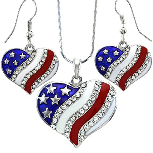 USA American Flag Heart Patriotic 4th of July Independence Day Pendant Necklace & Dangle Earrings Set (Set Patriotic)