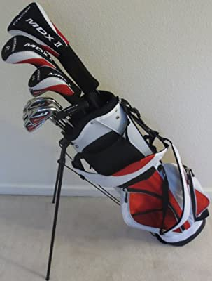 New Mens Complete Golf Club Set Driver, Fairway Wood, Hybrid, Irons, Putter & Stand Bag