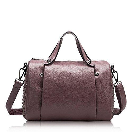 (Mn&Sue Women's Doctor Style Rivet Studded Genuine Leather Top Handle Barrel Lady Purse Boston Satchel bag (Light Purple))