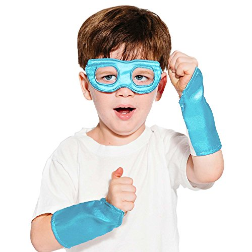 Light Blue Superhero Eye Mask and Powerbands - Kids