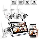Wireless Security Camera System,ANRAN 4CH 1080P Video Security System with 12 inches LCD Monitor,4pcs 960P Wireless IP Cameras,P2P,Easy Remote View,No HDD