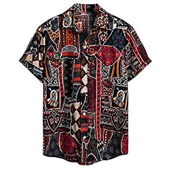 ♛2019 Clearance Sale♛ - Chamery Summer Shirt for MenMens Ethnic Short Sleeve Casual Cotton Linen Printing Hawaiian Shirt Blouse(Purple,L)