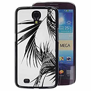 A-type Arte & diseño plástico duro Fundas Cover Cubre Hard Case Cover para Samsung Galaxy Mega 6.3 (Black White Palm Leaves Tropics Miami)