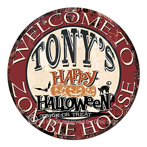 Welcome to The Tony'S Happy Halloween Zombie House Chic Tin Sign Rustic Shabby Vintage Style Retro Kitchen Bar Pub Coffee Shop Man cave Decor Gift Ideas