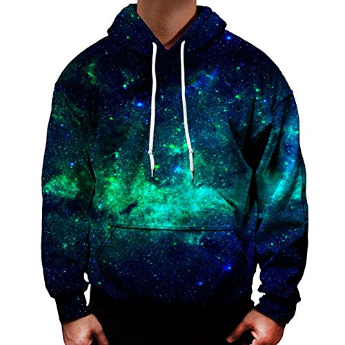 On Cue Apparel Green Galaxy Hoodie at Amazon Men's Clothing
