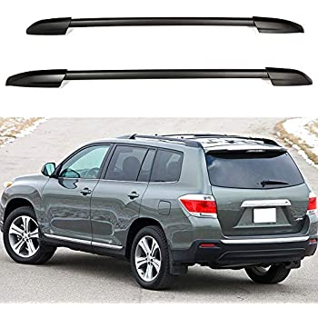 Nova for 08-13 Toyota Highlander Roof Rack Side Rail Pair Set Silver Aluminum OE Factory Style 2008 2009 2010 2011 2012 2013