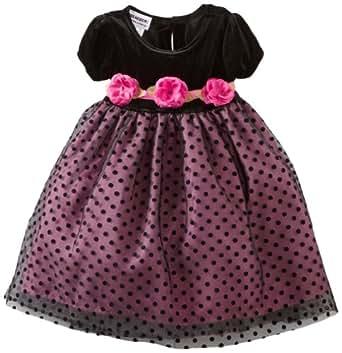 Blueberi Boulevard Baby Girls' Flock Velvet Netting Dress, Black, 24 Months