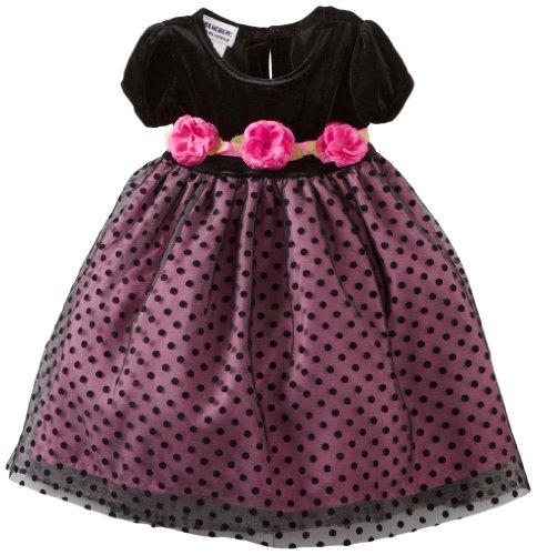Blueberi Boulevard Baby Girls' Flock Velvet Netting Dress, Black, 18 Months